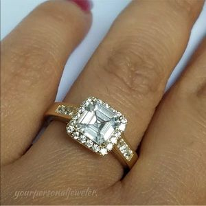 14k Yellow Gold Man Made  Diamond Engagement Ring